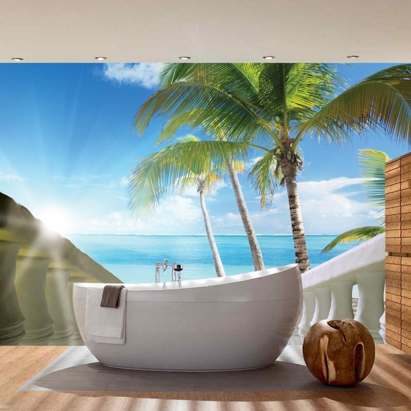 vlies fototapete no 1571 vliestapete liwwing r meer tapete karibik meer palmen horizont. Black Bedroom Furniture Sets. Home Design Ideas