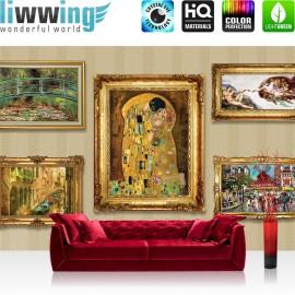 "Vlies Fototapete ""no. 1605"" | Gemälde Tapete Rahmen Gemälde Venedig Moulin Rouge Paris Gondel Antike Rom gold | liwwing (R)"