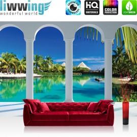 "Vlies Fototapete ""no. 1632"" | Wasser Tapete Palmen Wasser Himmel Bogen Karibik blau | liwwing (R)"