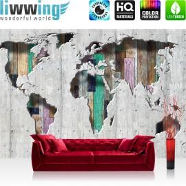 "Vlies Fototapete ""no. 1655"" | Welt Tapete Kontinente Holz Holzoptik grau | liwwing (R)"