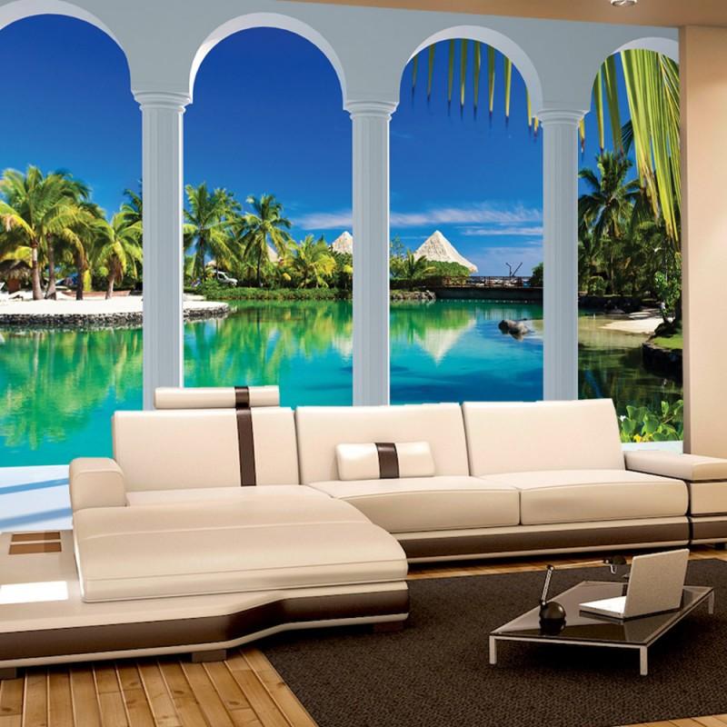 vlies fototapete no 1632 vliestapete liwwing r wasser tapete palmen wasser himmel bogen. Black Bedroom Furniture Sets. Home Design Ideas