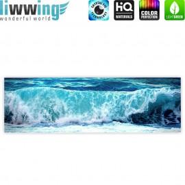 "liwwing (R) Marken Leinwandbild ""Blue Seascape"" | Panorama | Ozean Meer Wasser See Welle Sturm Blau Türkis"