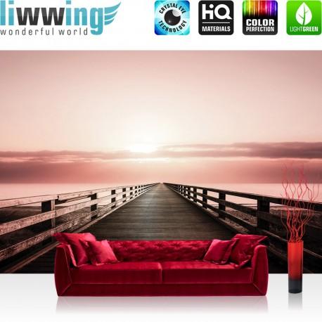 "Vlies Fototapete ""no. 1666"" | Sonnenaufgang Tapete Sonne Steg Himmel Horizont Meer rot | liwwing (R)"