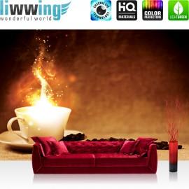 "Vlies Fototapete ""no. 1678"" | Kaffee Tapete Kaffebohnen Licht Feuer braun | liwwing (R)"