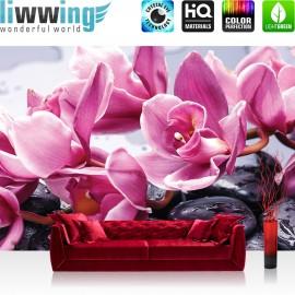 "Vlies Fototapete ""no. 1700"" | Wellness Tapete Blume Blüten BlätterSteine Wassertropfen Orchideen rosa | liwwing (R)"