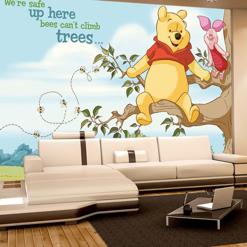 vlies fototapete no 1687 cartoon tapete disney winnie puuh ferkel bienen baum bunt. Black Bedroom Furniture Sets. Home Design Ideas