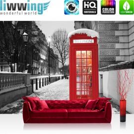 "Vlies Fototapete ""no. 1425""   London Tapete London Telefonzelle Straße Lichter Winter Schnee grau   liwwing (R)"