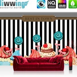 "Vlies Fototapete ""no. 1247"" | Speisen Tapete Lollypop Illustration Ornamente Muffins Törtchen bunt | liwwing (R)"