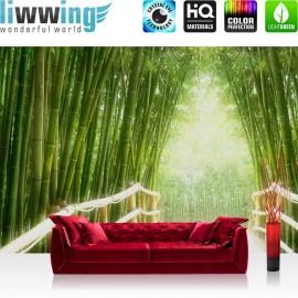 "Vlies Fototapete ""Bamboo Walk"" | Wald Tapete Bambusweg Bambuswald Dschungel Asien Bamboo Way Wald grün"