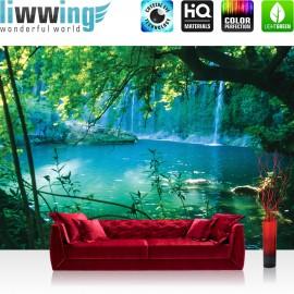 "Vlies Fototapete ""no. 1708"" | Wasser Tapete Paradies Wasserfall blau | liwwing (R)"