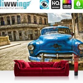 "Vlies Fototapete ""no. 1709"" | Autos Tapete Trappie Vintage Gebäude blau | liwwing (R)"