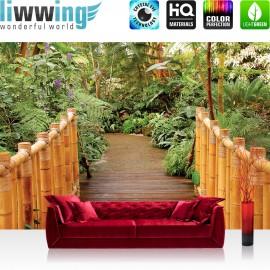 "Vlies Fototapete ""no. 1712"" | Bambus Tapete Tropisch Brücke Bambus Pflanzen grün | liwwing (R)"