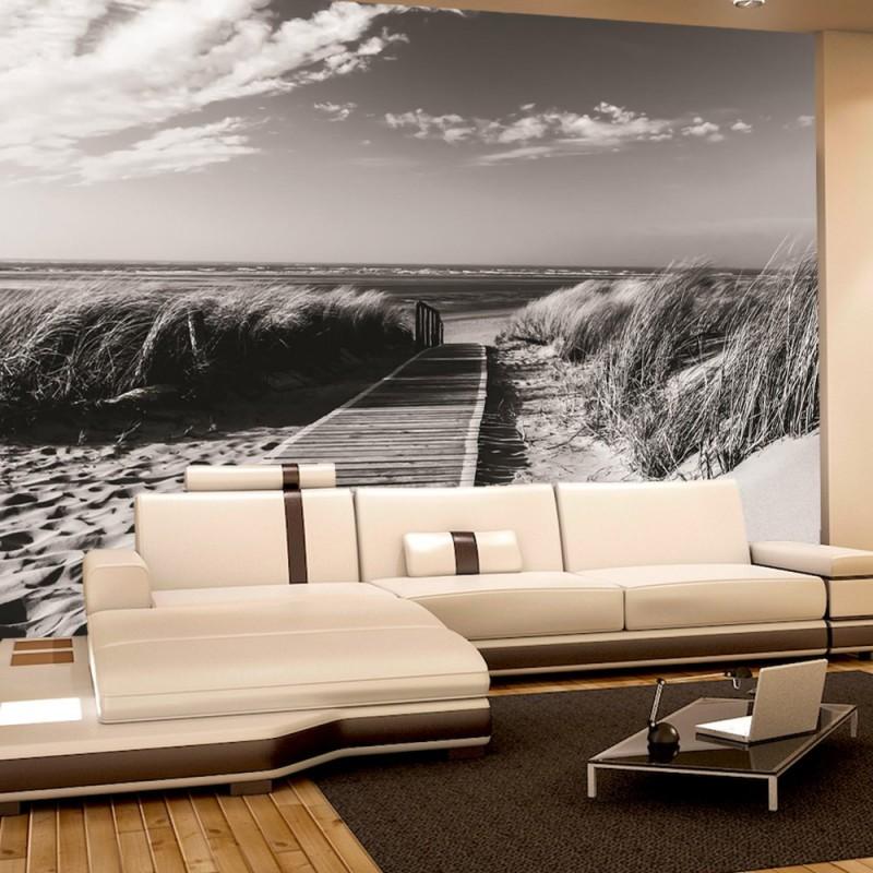 vlies fototapete no 1720 vliestapete liwwing r strand tapete steg wasser meer sand schwarz. Black Bedroom Furniture Sets. Home Design Ideas
