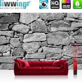 "Vlies Fototapete ""Black and White Stone Wall"" | Steinwand Tapete Steinmauer Steine Steinoptik 3D"