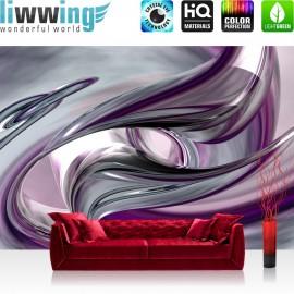 "Vlies Fototapete ""Liquid Climax"" | Kunst Tapete 3D Digital Art Abstrakt Schwung blau rot lila"