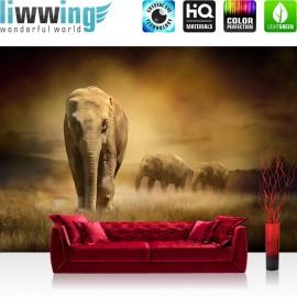 "Vlies Fototapete ""African Savanna"" | Afrika Tapete Savanne Elefanten Gras Landschaft braun"