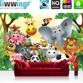 "Vlies Fototapete ""Jungle Animals Party"" | Kindertapete Tapete Kinderzimmer Dschungel Zoo Tiere Griaffe Löwe Affe bunt"