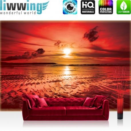 "Vlies Fototapete ""no. 1742"" | Sonnenuntergang Tapete Strand Sonnenuntergang Meer rot | liwwing (R)"