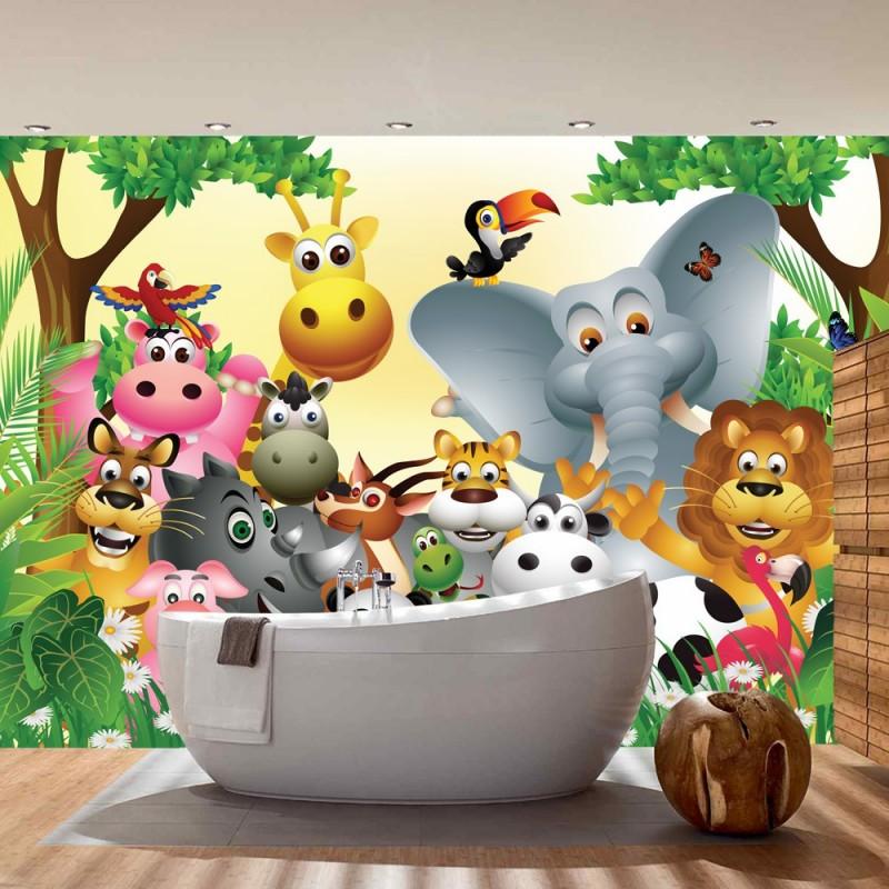 Tapete kinderzimmer tiere  Vlies Fototapete Jungle Animals Party Kindertapete Tapete ...