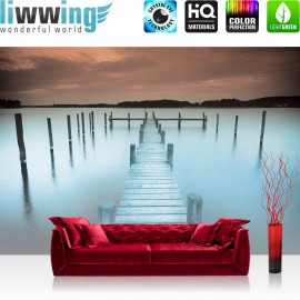 "Vlies Fototapete ""no. 1744"" | Wasser Tapete See Wasser Steg Abend Nebel blau | liwwing (R)"