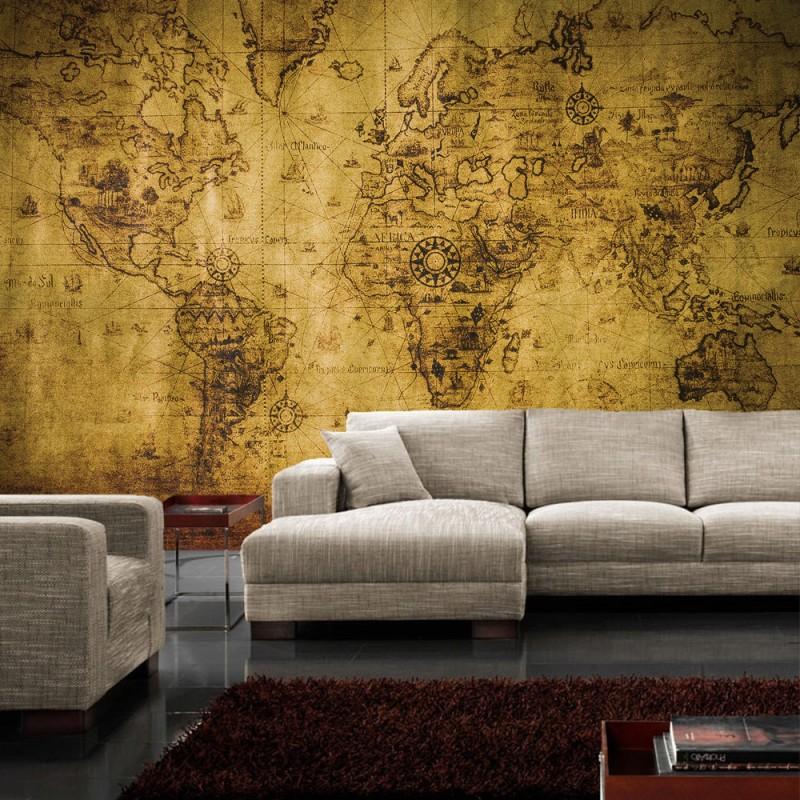 vlies fototapete no 1781 vliestapete liwwing r geographie tapete karte geografie vintage braun. Black Bedroom Furniture Sets. Home Design Ideas