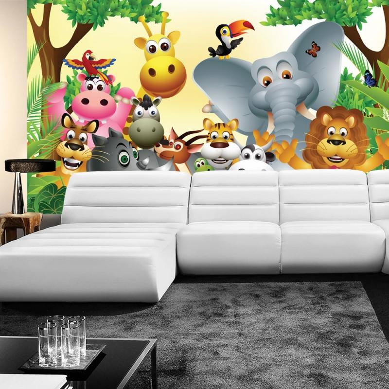 Kinderzimmer Tapete Tiere : Tapete Kinderzimmer Dschungel Zoo Tiere Griaffe L?we Affe bunt
