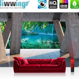 "Vlies Fototapete ""no. 1783"" | Wasser Tapete Säulen Fliesen Ausblick Wasser Wasserfall Natur Paradies blau | liwwing (R)"