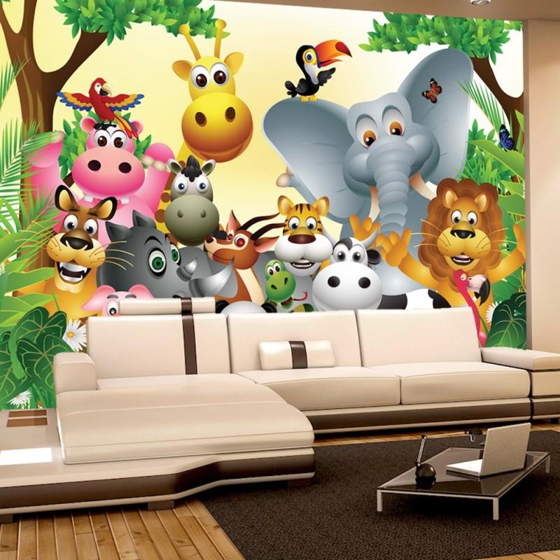 Kinderzimmer Tapete Dschungel : Tapete Kinderzimmer Dschungel Zoo Tiere Griaffe L?we Affe bunt