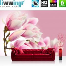 "Vlies Fototapete ""Pink Magnolia"" | Blumen Tapete Magnolie Blumenranke Pflanzen Natur Orchidee rosa pink"