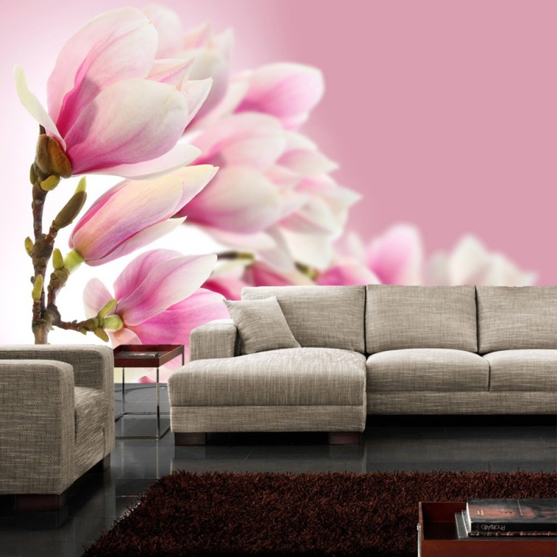 vlies fototapete pink magnolia blumen tapete magnolie. Black Bedroom Furniture Sets. Home Design Ideas