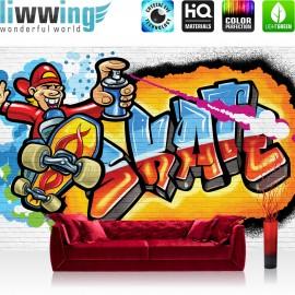 "Vlies Fototapete ""no. 1757"" | Graffiti Tapete Spray Steinwand Steine bunt | liwwing (R)"