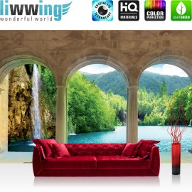 "Vlies Fototapete ""no. 1789"" | Wasser Tapete Säulen Wasser Meer Wasserfall Paradies blau | liwwing (R)"