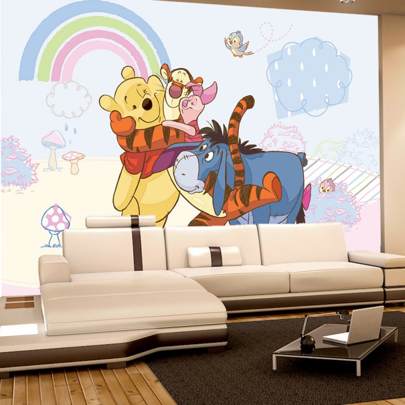 vlies fototapete no 1760 disney tapete winnie puuh winnie pooh tigger iaah bunt. Black Bedroom Furniture Sets. Home Design Ideas