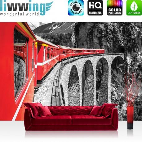 "Vlies Fototapete ""no. 1811"" | Gebirge Tapete Landschaft Eisenbahn Zug rot | liwwing (R)"