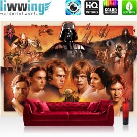 "Vlies Fototapete ""no. 1816"" | Jungen Tapete STAR WARS Yoda Luke Skywalker Obi Wan Cartoon Illustration braun | liwwing (R)"
