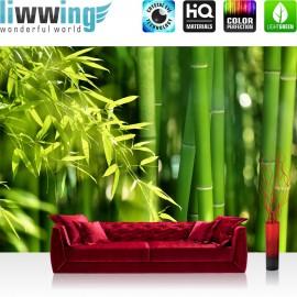 "Vlies Fototapete ""Far Asia Bamboo"" | Wald Tapete Bambus Bambuswald Dschungel Asien Bambusweg grün"