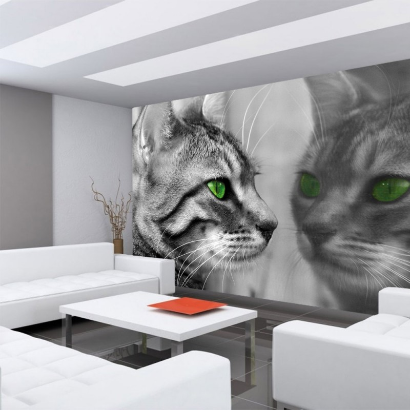 vlies fototapete no 1826 vliestapete liwwing r tiere tapete katze gr ne augen schwarz wei. Black Bedroom Furniture Sets. Home Design Ideas