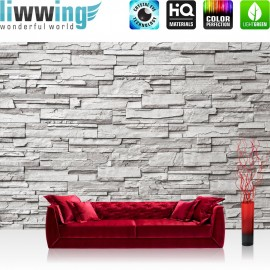 "Vlies Fototapete ""Noble Grey Stone Wall"" | Steinwand Tapete Steinoptik Steine Wand Wall grau"