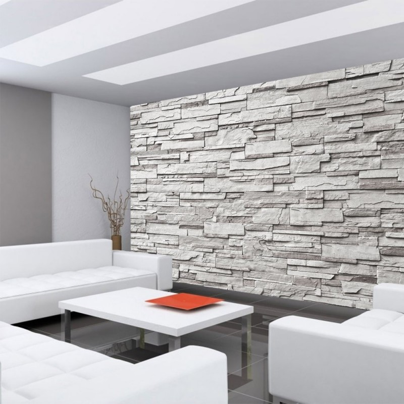 vlies fototapete noble grey stone wall steinwand. Black Bedroom Furniture Sets. Home Design Ideas