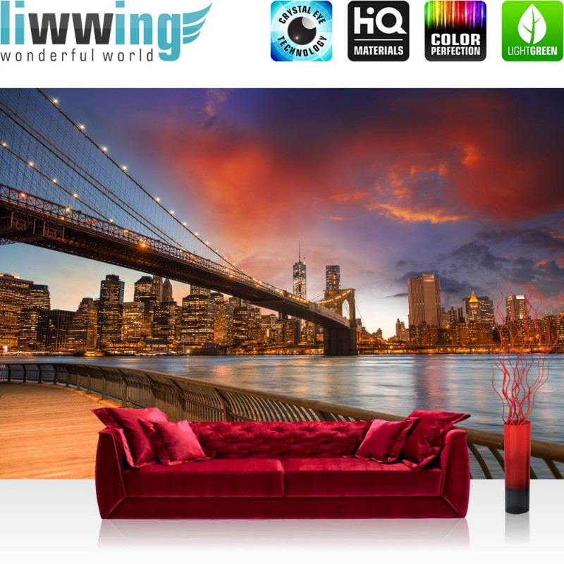 vlies fototapete new york bridges skyline usa tapete. Black Bedroom Furniture Sets. Home Design Ideas