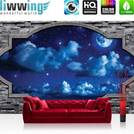 "Vlies Fototapete ""no. 1853"" | Himmel Tapete Nacht Himmel Steinwand Fenster Stein Mond blau | liwwing (R)"
