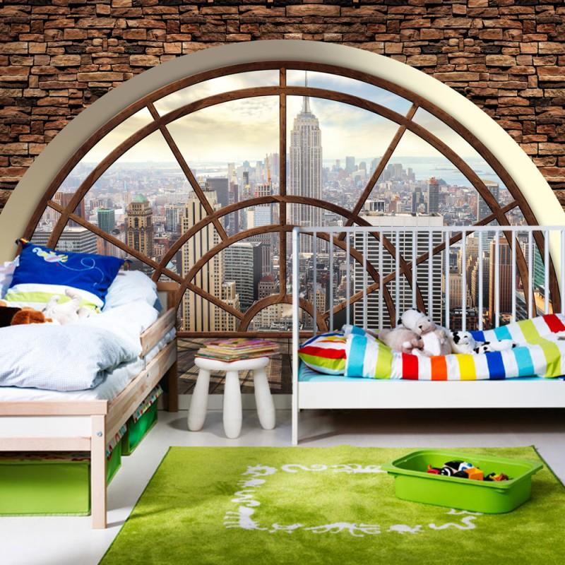 vlies fototapete no 1856 vliestapete liwwing r manhattan tapete steinwand raum ausblick. Black Bedroom Furniture Sets. Home Design Ideas