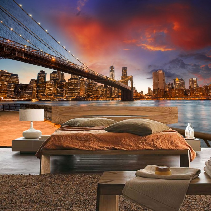 vlies fototapete new york bridges skyline usa tapete new york city usa amerika empire state. Black Bedroom Furniture Sets. Home Design Ideas