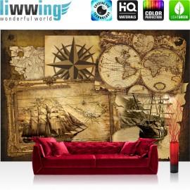 "Vlies Fototapete ""no. 1861"" | Geographie Tapete Geografie Karte Schiff Vintage Kompass braun | liwwing (R)"