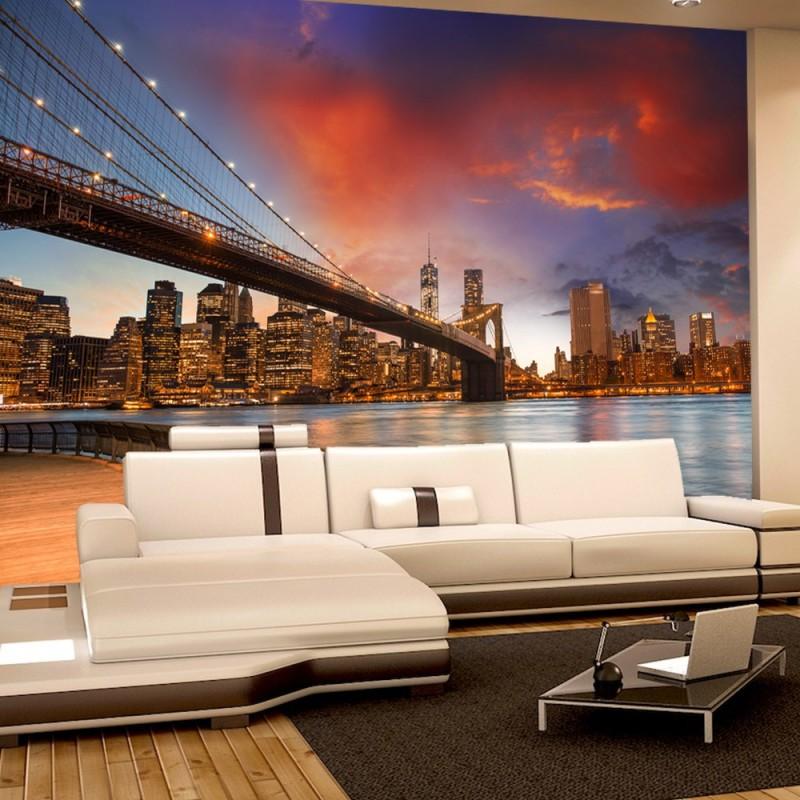 vlies fototapete new york bridges skyline usa tapete. Black Bedroom Furniture Sets. Home Design Ideas