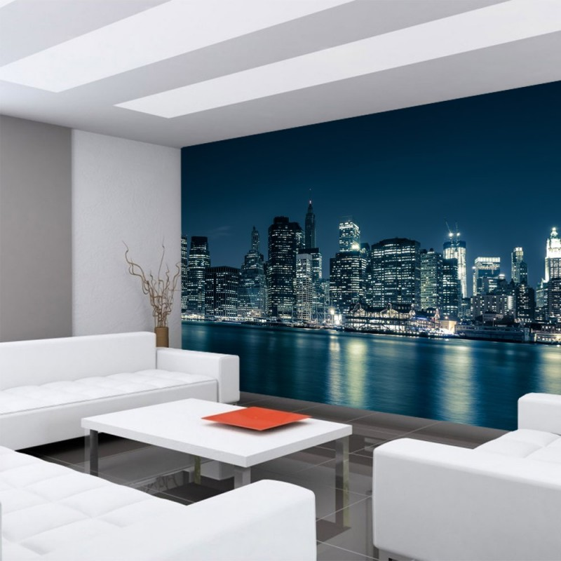 vlies fototapete new york blue night skyline usa. Black Bedroom Furniture Sets. Home Design Ideas
