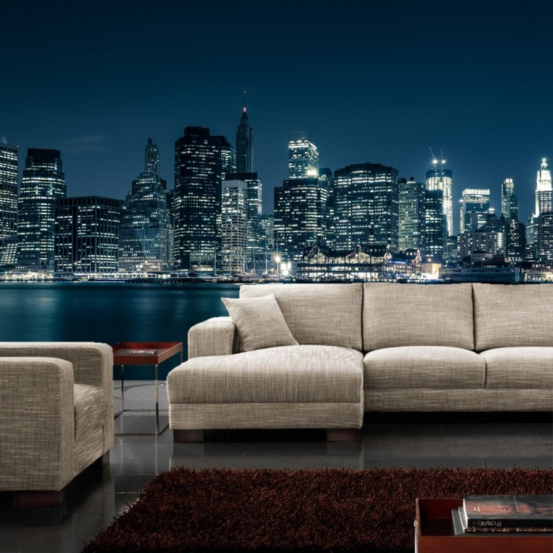 new york fototapete fototapete new york nacht skyline. Black Bedroom Furniture Sets. Home Design Ideas
