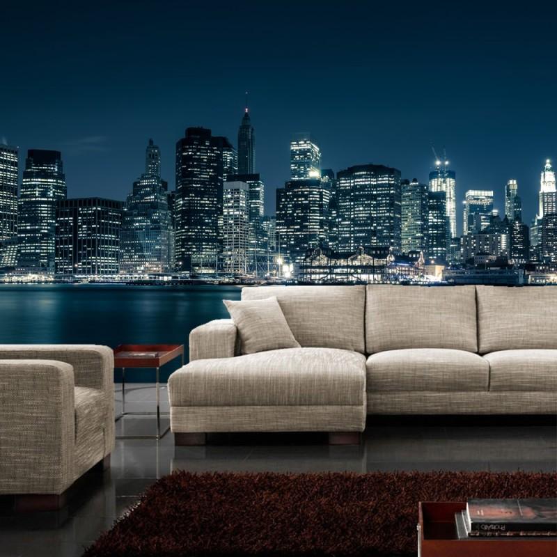 vlies fototapete new york blue night skyline usa. Black Bedroom Furniture Sets. Home Design Ideas