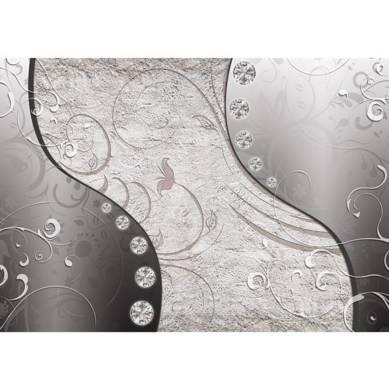 1887 ornamente tapete muster blume diamanten metallic schwarz vlies - Vliestapeten Muster
