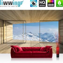 "Vlies Fototapete ""no. 1894"" | Landschaft Tapete Holz Raum Ausblick Berge Winter Schnee Alpen blau | liwwing (R)"